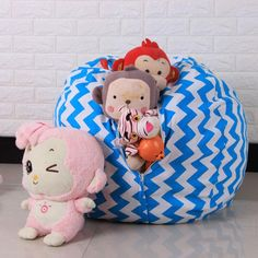 Kids Toys Storage Bag Organizer Cotton Stuffed Animal Plush Toy Storage Bean Bag Soft Pouch Stripe Storage Bag Clothing photo ideas from Amazing Toys Collection Bean Bag Storage, Coat And Shoe Storage, Soft Toy Storage, Shoe Storage Small, Toy Storage Baskets, Large Bean Bags, Stuffed Animal Storage, Modern Toys, Bag Organization