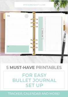 If you haven't set up a bullet journal because you're unsure where to begin, I recommend starting with a printable template. Follow my tips for using printable templates. You'll have your bullet journal set up in no time! #bulletjournal #bulletjournaling #bujo #bulletjournalsetup #setupbulletjournal #howtobulletjournal #easybulletjournal #habittracker #dailylog #futurelog #bulletjournalindex #printablecalendar #pagetabs #plannerstickers #bulletjournalprintable Bullet Journal Easy, Bullet Journal For Beginners, Bullet Journal Notebook, Bullet Journal Tracker, Bullet Journal Printables, Bullet Journal How To Start A, Journal Template, Bullet Journal Layout, Bullet Journal Inspiration