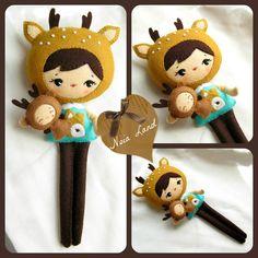 PDF. Deer girl with puppet .Plush Doll Pattern, Softie Pattern, Soft felt Toy Pattern.. $7,00, via Etsy.