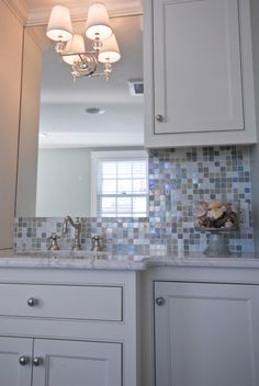 this is a bathroom backsplash, but it could look cute in your house @Charlotte Staton