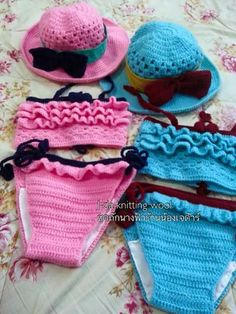 Crochet Baby Bikini, Baby Girl Crochet, Crochet For Kids, Crochet Bathing Suits, Baby Swimsuit, Crochet Squares, Crochet Fashion, Crochet Accessories, Crochet Projects