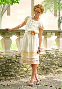cream by KristinaJ., via Flickr   love the bias layers and sleeves