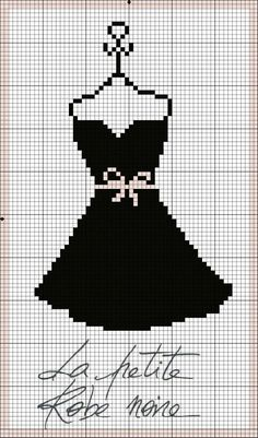 point de croix petite robe noire - cross stitch little black dress
