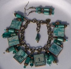 Scrabble Charm Bracelet- Orginal Designed Paper Beads-Matching Earings-Postage Stamp  Theme- Shades of Turquoise-Made To Order
