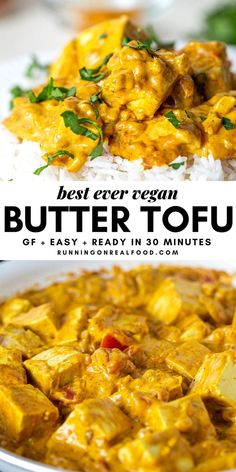 """Incredible, vegan """"butter chicken style"""" tofu ready in less than 30 minutes. This is so easy to make for a quick weeknight dinner! Easy Vegan Butter Chicken - Best ever Butter Tofu Vegan Dinner Recipes, Healthy Chicken Recipes, Veggie Recipes, Indian Food Recipes, Whole Food Recipes, Vegan Indian Food, Easy Tofu Recipes, Firm Tofu Recipes, Plant Based Recipes"""