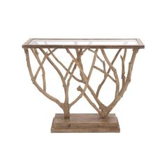 eye-catching console table, showcasing a glass top and branch-inspired wood base.