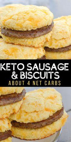Low Carb Bread, Keto Bread, Low Carb Keto, Sausage Biscuits, Keto Biscuits, Keto Pancakes, Low Carb Breakfast Easy, Breakfast Recipes, Dinner Recipes