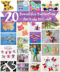 20 Beautiful Butterfly Crafts for Kids - If you would like to add some color to your day, and your room, make one or more of these beautiful butterflies. (http://aboutfamilycrafts.com/20-beautiful-butterfly-crafts-for-kids/)