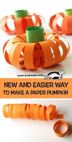 New and easier way to make a paper pumpkin (krokotak) - - Watch video: How to make: see more:. Halloween Crafts For Toddlers, Thanksgiving Crafts For Kids, Toddler Crafts, Pumpkin Crafts Kids, Harvest Crafts, Pumpkin Art, Paper Pumpkin, Christmas Bazaar Crafts, Preschool Art Projects