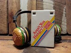 Vtg Radio Shack 1983 Burger King Headphones & Personal Tuner Belt Clip AM Radio