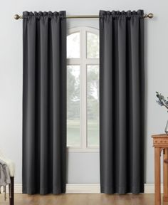 "Sun Zero Shaw Theater Grade 80"" x 95"" Extreme Blackout Rod Pocket Curtain Panel Pair - Gray"