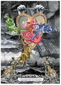 Three of Swords - Arthur Taussig Collage Tarot
