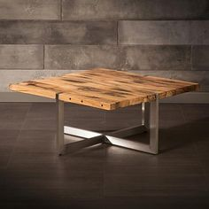 Coffee Table Made of Recycled Wood from Railway Tracks with Stainless Steel Legs