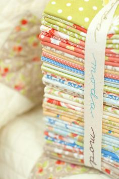 This stack of fabric is delicious!  I love the colors . . . what a gift that would be get these!!!