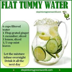 Flat Tummy Water. 60% of our bodies are water. Dehydration inhibits optimal functioning and losing weight is just one of the many benefits of staying hydrated. Adding super foods to your water not only makes it taste amazing for easy drinking but infuses it with LOADS of nutrients to detox your system, boost energy, and increase immune function.