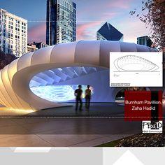 Como representação da arquitetura internacional, escolhemos o curvilíneo projeto do Burnham Pavillion instalado no Millennium Park de Chicago (USA), que leva a assinatura da arquiteta iraquiana e vanguardista Zaha Hadid.