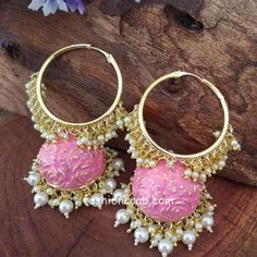 Indian Bridal Jewelry Sets, Indian Jewellery Online, Indian Earrings, Women's Earrings, Fashion Necklace, Fashion Jewelry, Traditional Earrings, Bollywood Jewelry, Gold Earrings Designs