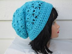 Cutest Slouch beanie is Great accessory for any time of the year, Dressy and elegant in Turquoise Knit hat Fits a full size adult head.  Has enough