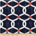 Michael Miller Ahoy Matey Rigging Navy from Designed for Michael Miller Fabrics, this cotton print fabric is perfect for quilting and craft projects as well as apparel and home décor accents. Colors include white and orange on a navy background. Burlap Fabric, Navy Fabric, Pillow Fabric, Sewing Crafts, Sewing Projects, Craft Projects, Sailing Theme, Nautical Cards, Nautical Knots