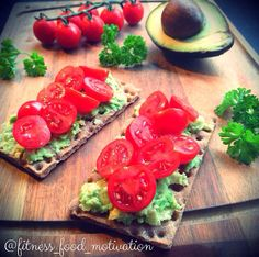 One of my faves, avocado and tomato (or pico) on Wasa crackers!