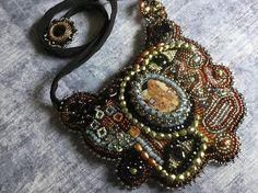 Gustav Klimt Inspired Bead Embroidery Necklace Art Jewelry