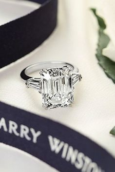 Pave Band Emerald Cut Rings