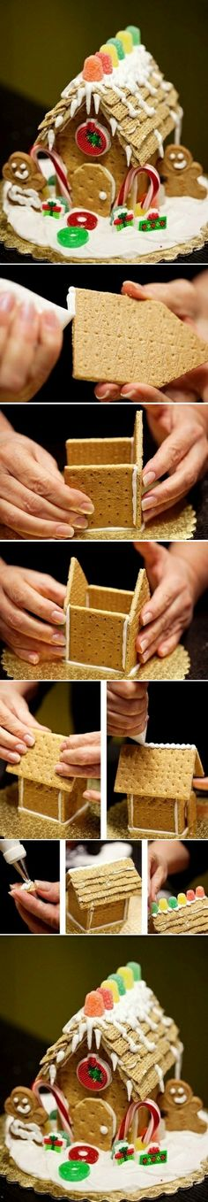 "We love this graham cracker ""gingerbread"" house. For an added twist, use gluten-free graham crackers"