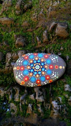 Mandala Sea Stone, Mandala, Meditation Stone, Painted Rock, Beach Stones, Sea Stone, Beach Treasures, Smooth Stones, Dot Art, Beach Rock by PaintedDandelion on Etsy