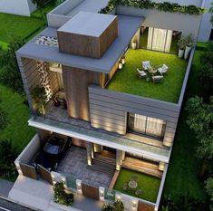 Modern Small House Design, Modern Exterior House Designs, Bungalow House Design, House Front Design, Dream House Exterior, Modern House Plans, Exterior Design, Exterior Colors, Modern House Facades