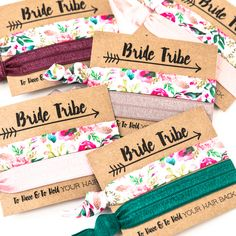 Our hair tie cards are the perfect favor for your bachelorette, shower or wedding party! Tuck these in your bridesmaids day-of bags to say thanks, the floral hair ties are always a hit! Emerald Hair, Bachelorette Party Favors, Floral Hair, Wish Shopping, Hair Ties, Floral Prints, Wedding Day, Gift Wrapping, Place Card Holders