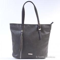 Nowy model torebki David Jones w ciemnym odcieniu koloru szarego. Mieści format A4. Torba jest na dwóch uchwytach średniej długości.