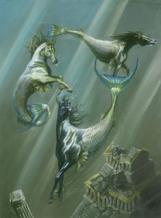 """""""Hippocampi. In Greek mythology, a half-horse, half-fish creature."""" What I wanna know, which one's Rainbow?"""