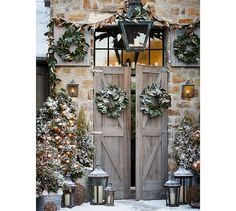 Stone Barn at Christmas