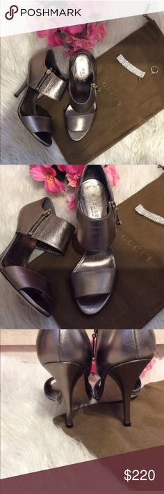 """Authentic Gucci sandals Authentic Gucci leather heeled sandals. Worn once! In like new condition. Comes with Gucci dustbag. 4"""" heel. Zippers on side for closure. Bundle and save 15%. Size 36 1/2. Ask how to get free shipping! Gucci Shoes Heels"""