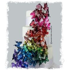 Rainbow butterfly wedding cake