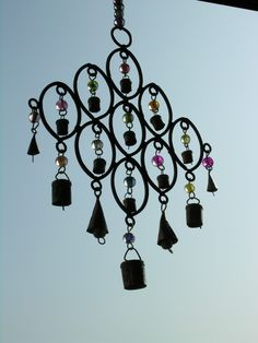 Small iron and brass multi bell chime Moroccan Lamp, Indian Furniture, Suncatchers, Soft Furnishings, Wind Chimes, Dream Catcher, Lanterns, Perfume Bottles, Christmas Gifts
