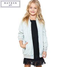 HAYDEN Girls Flower Embroidery Jacket Kids Jeans Denim Baseball Jacket  Teenage Girls Jackets and Coats for 2017 Spring Autumn f476c9f310b2