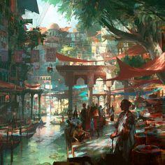 Explore the fantasy environment collection - the favourite images chosen by ismailraddahi on DeviantArt. Fantasy City, Fantasy Places, Fantasy World, Fantasy Village, Fantasy Concept Art, Dark Fantasy Art, Fantasy Artwork, Environment Concept, Environment Design