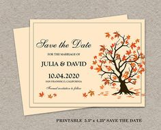Fall Save The Date Printable Fall Save The by iDesignStationery, $4.95