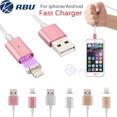 2.4a rápido cable cargador micro usb de iluminación de metal magnético imán de nylon/pvc adaptador de corriente cables de datos para samsung android iphone