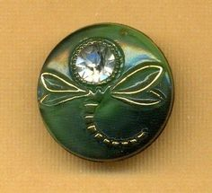 Vintage Button...Black Glass DRAGONFLY MOONGLOW w Paste/Rhinestone...c.1950's