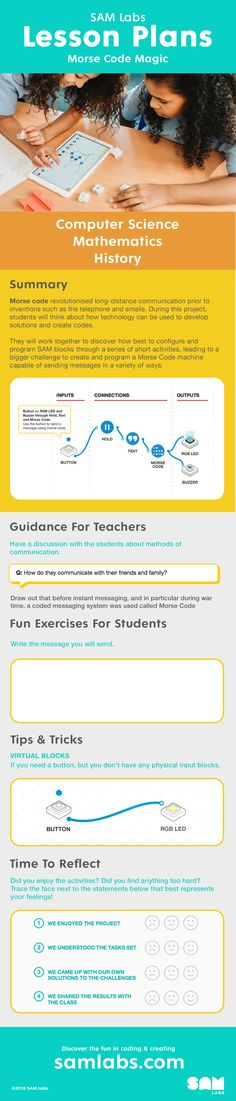 Explore this SAM Labs lesson plan and teach your students about Morse Code and computational thinking.  Morse code revolutionised long-distance communication prior to inventions such as the telephone and emails.  During this project, students will think about how technology can be used to develop solutions and create codes.  #lessonplan #coding #morsecode #project #technology #computing #primary #elementary #IoT #programming #fun #invention #STEM #STEAM #history