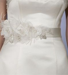 white flower and feather sash | Bridal Belt with Elegant Chiffon Flowers and Feather Accents - Bel ...