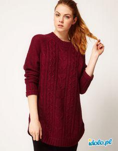 wełniany zimowy sweter Asos w kolorze bordowym - jesień-zima 2012/2013