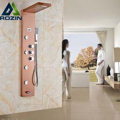 Thermostatic Mixer Valve Rose Golden Shower Panel Waterfall Rain Shower Set Massage System Hand Shower Tower Shower Column #Affiliate