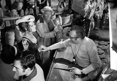 Claudia Cardinale e il regista Sergio Leone sul set del film 'C'era una volta il West' in 1968