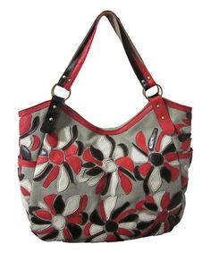Look at this #zulilyfind! Gray & Red Flora Leather Tote #zulilyfinds