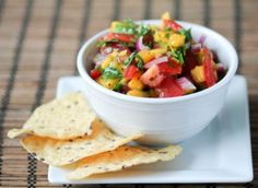 Spicy Mango Lime Salsa by Jessie Erwin Clean Eating Hummus, Healthy Eating, Safe Cleaning Products, Fruits And Vegetables, Jessie, Salsa, Spicy, Mango, Lime