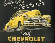 antique yellow chevrolet 1948 advertisement only one is number one