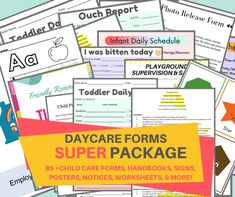 Parent Handbook, Employee Handbook, Daycare Forms, Home Daycare, Daycare Ideas, Transportation Form, Daily Schedule Preschool, Letter Flashcards, Interview Guide